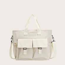 Letter Patch Canvas Tote Bag