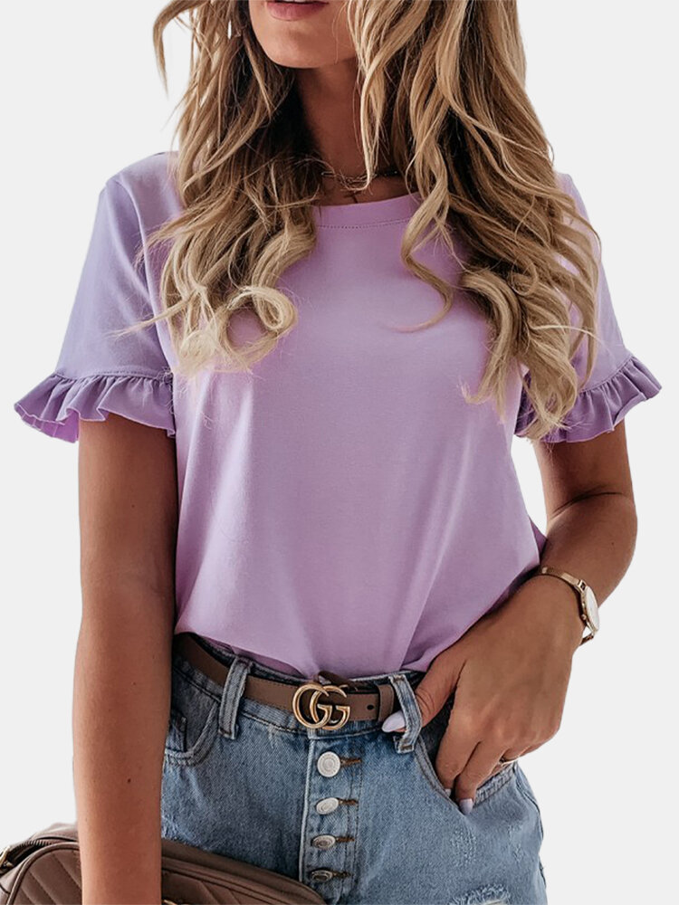 Solid Color Short Sleeve O-neck T-shirt For Women