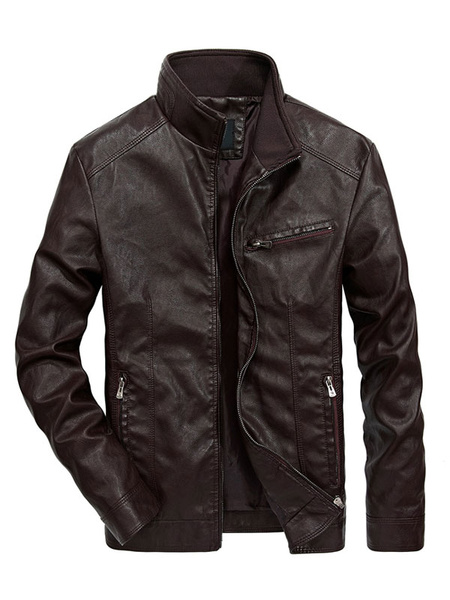 Milanoo Leather Jacket Men Stand Collar Long Sleeve Leather Coat PU Short Khaki Jacket