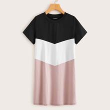 Vestido panel de chevron de color combinado - grande