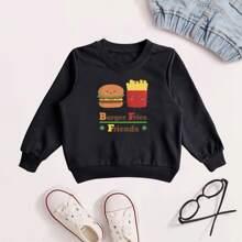 Toddler Boys Cartoon & Letter Graphic Sweatshirt