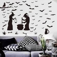 Halloween Wandaufkleber mit Hexe Muster