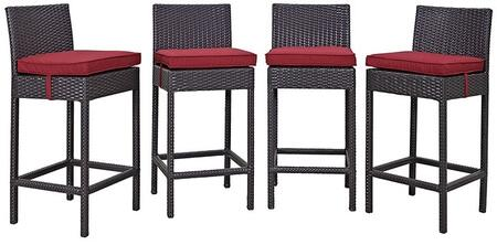 Convene Collection EEI-2218-EXP-RED-SET 4 PC Outdoor Patio Pub Set with Synthetic Rattan Weave Construction and All-Weather Fabric Cushions in