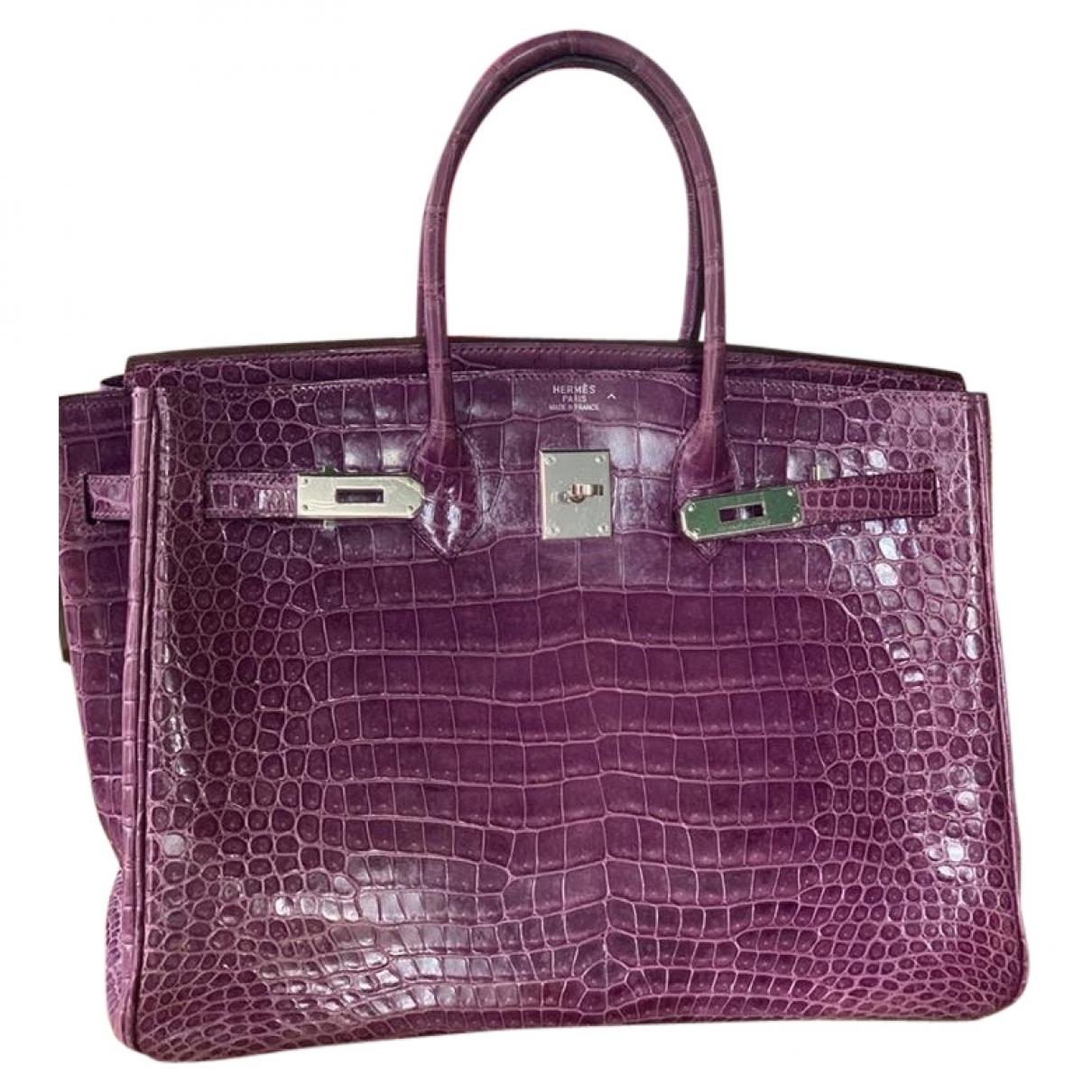 Hermes Birkin 35 Handtasche in  Lila Krokodil