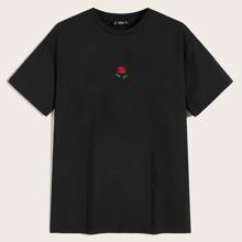 Maenner T-Shirt mit Rose Stickereien