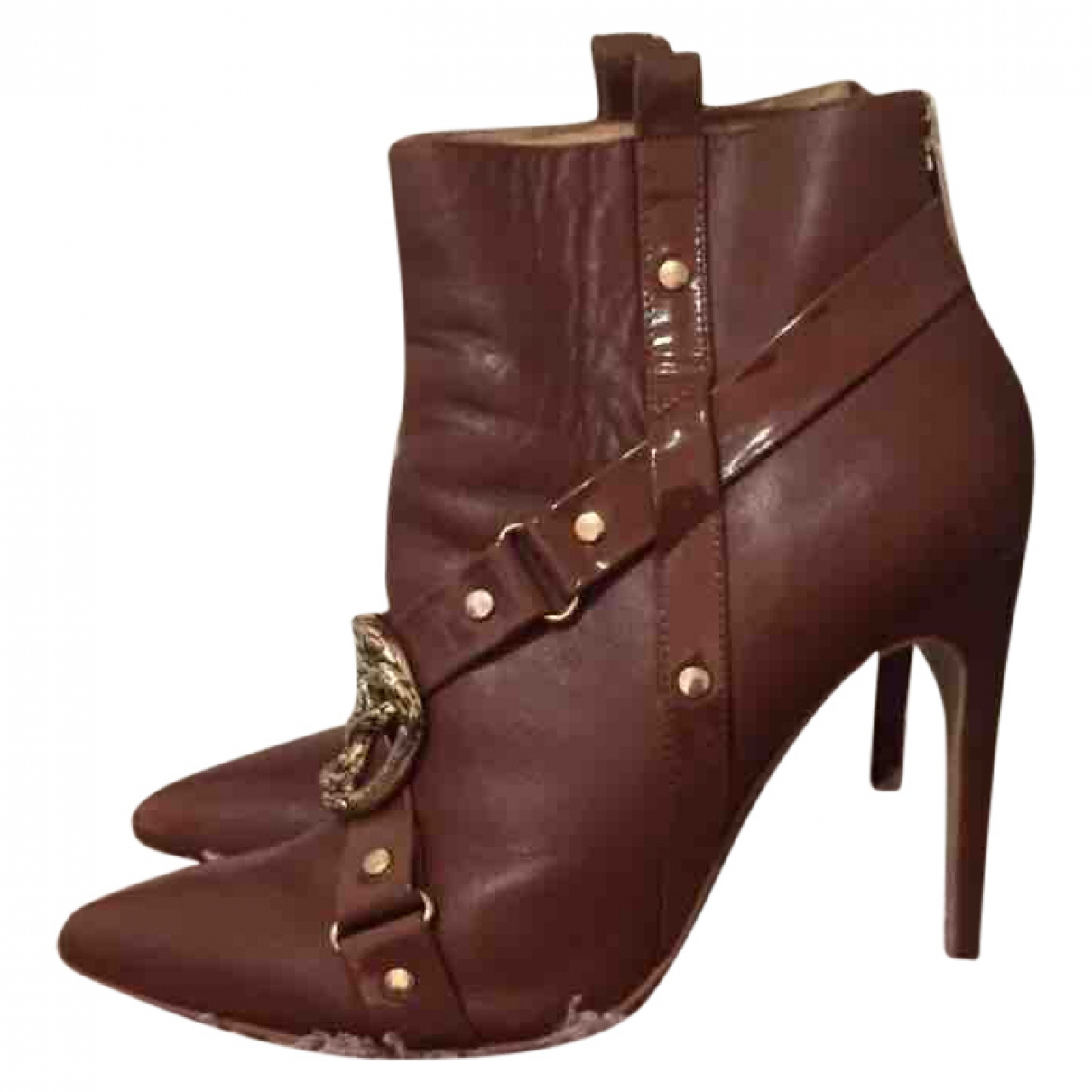 Just Cavalli \N Brown Faux fur Ankle boots for Women 39 EU