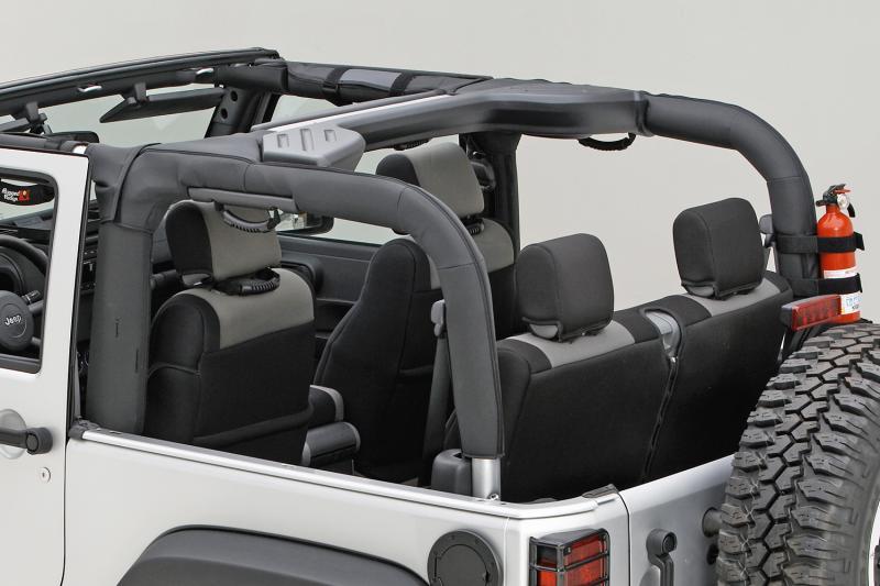 This black vinyl roll bar cover from Rugged Ridge 13613.06, 07-18 Jeep Wrangler JK. Jeep Wrangler 2007-2018