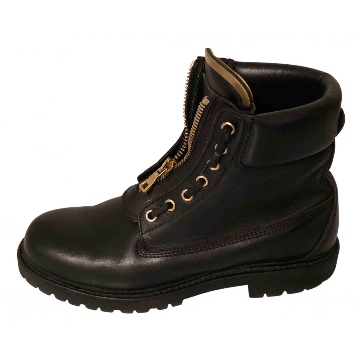 Balmain N Black Leather Ankle boots for Women 41 EU