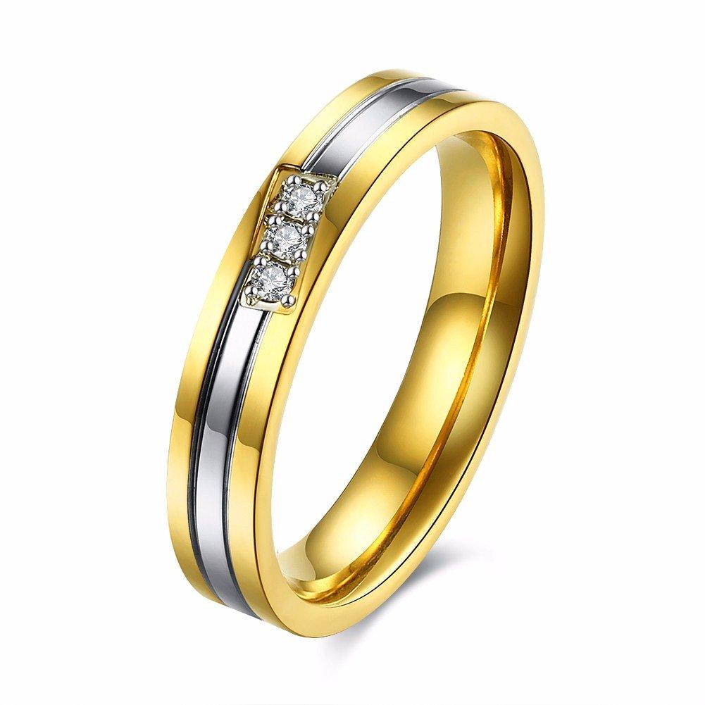 Couple Sweet Ring Gold Stainless Steel Zircon Ring for Men Women