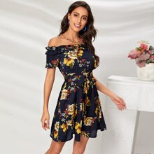 Off Shoulder Ruffle Trim Self Belted Floral Dress