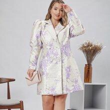 Jacquard Blazer Kleid mit Gigotaermeln, zweireihigen Knopfen und Blumen Muster