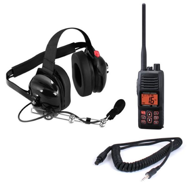Rugged Radios CREW-HX VHF HX400 5-Watt Radio and Headset Crew Chief/Spotter Package