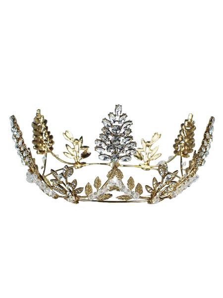 Milanoo Casco Accesorio de la boda Retro Crown Headwear Crystal Rhinestone Accesorios para el cabello para la novia
