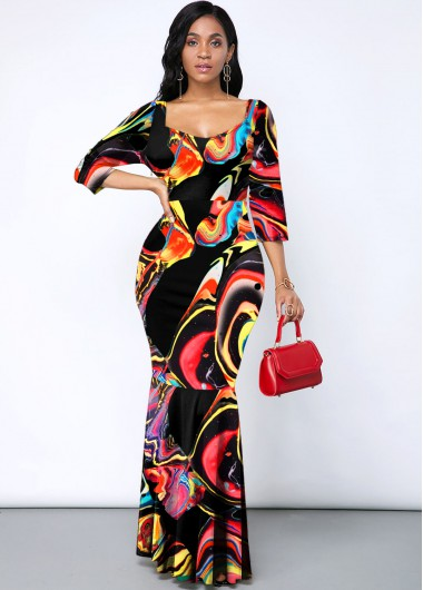 Cocktail Party Dress Printed Rainbow Color Three Quarter Sleeve Mermaid Dress - XL