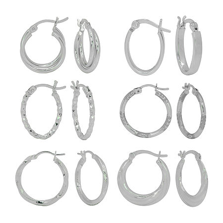 Sterling Silver 6 Pair Earring Set, One Size , No Color Family