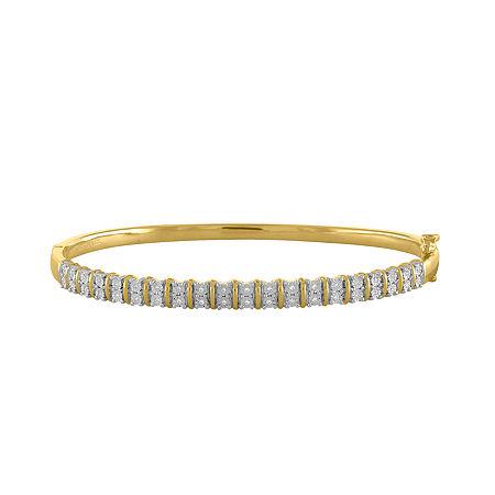 1/10 CT. T.W. Genuine White Diamond 14K Gold Over Silver Bangle Bracelet, One Size , No Color Family