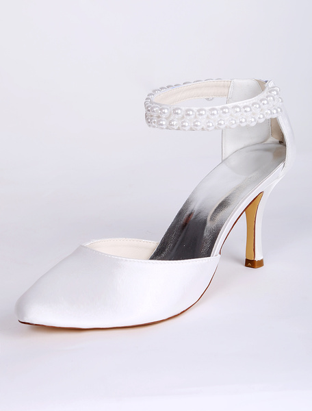 Milanoo White Wedding Shoes Satin Pointed Toe Pearls Detail Ankle Strap Bridal Shoes Satin High Heels