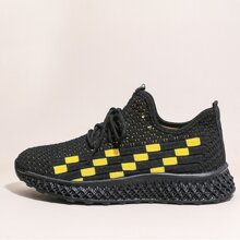 Lace Up Front Plaid Knit Sneakers