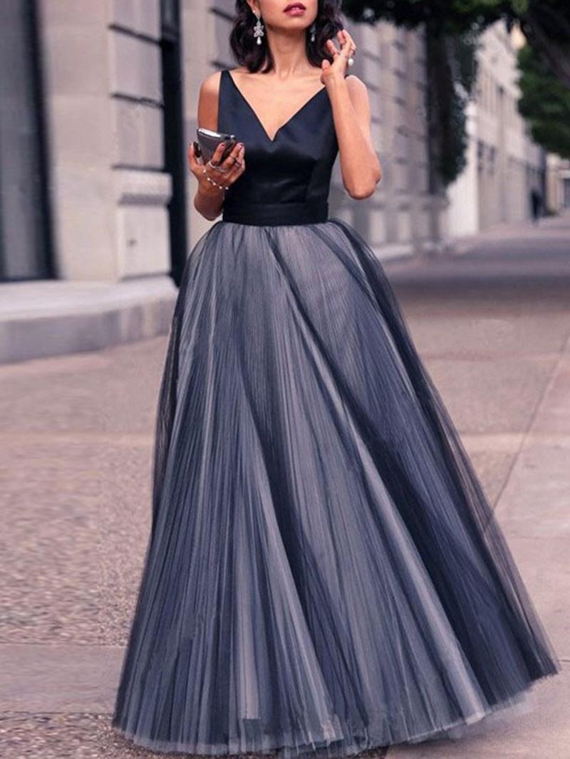 Ericdress V-Neck Floor-Length Sleeveless Expansion Dress
