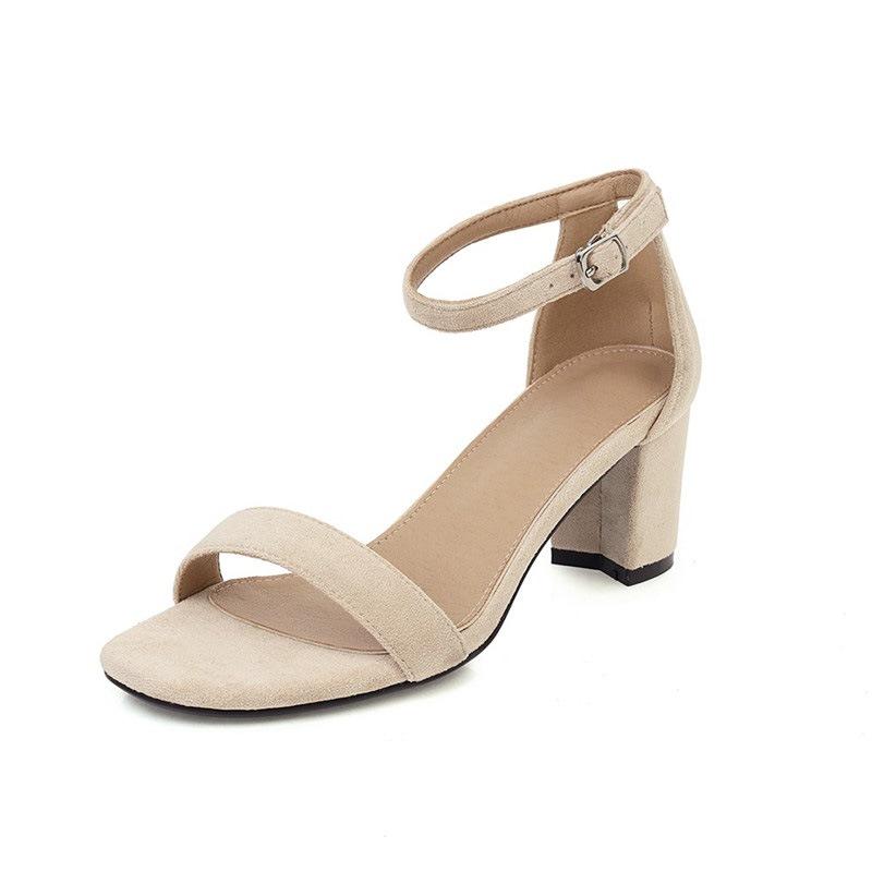 Ericdress Open Toe Line-Style Buckle Heel Covering Plain Sandals