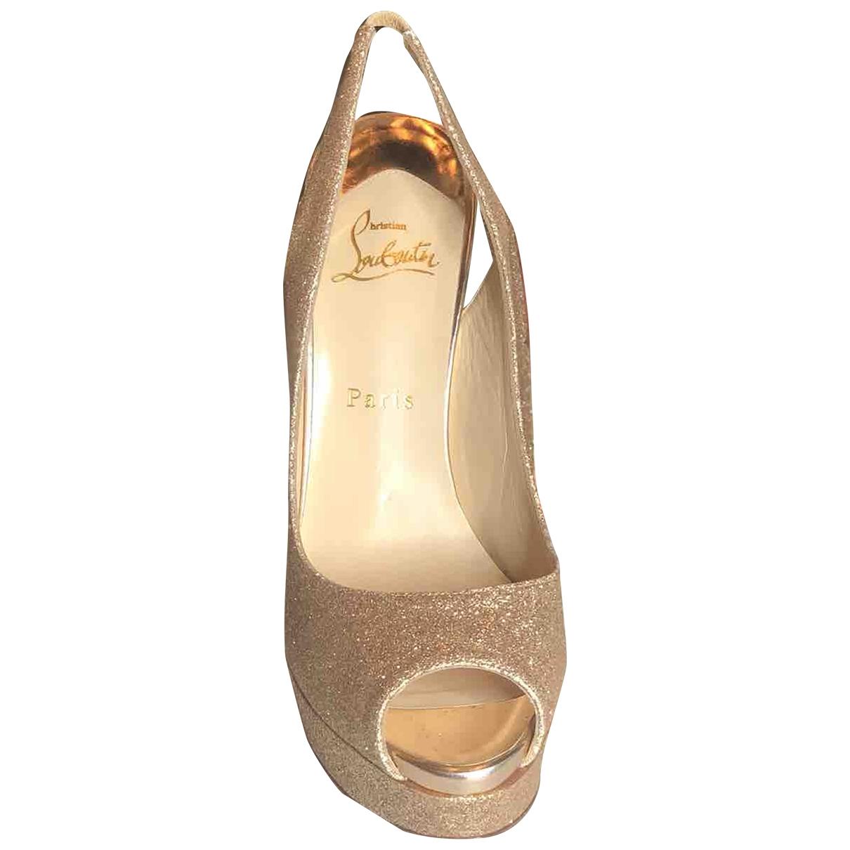 Christian Louboutin Lady Peep Gold Glitter Heels for Women 40.5 EU