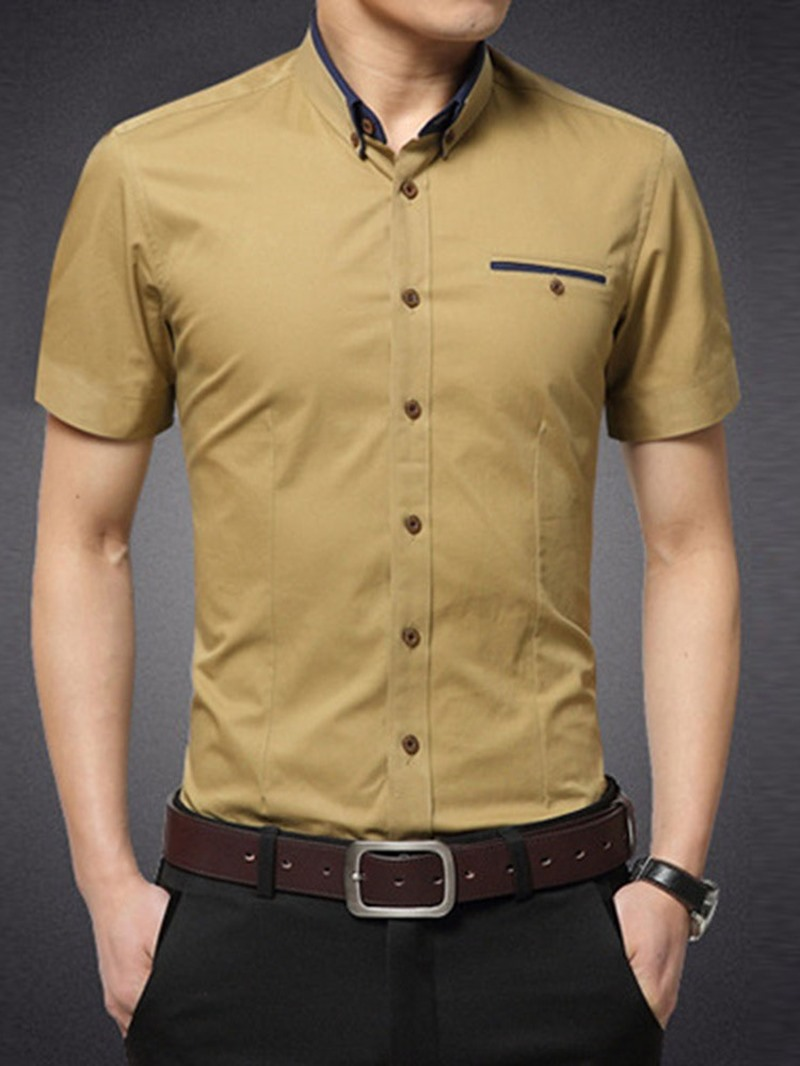 Ericdress Casual Lapel Single-Breasted Men's Shirt