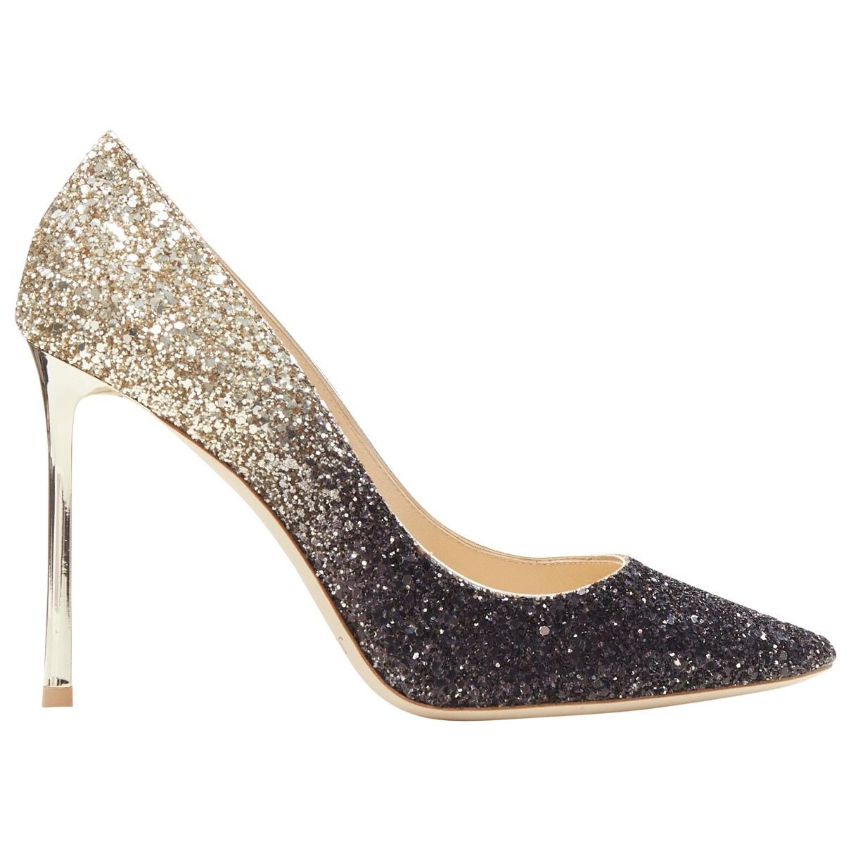 Jimmy Choo Romy Gold Glitter Heels for Women 37.5 EU