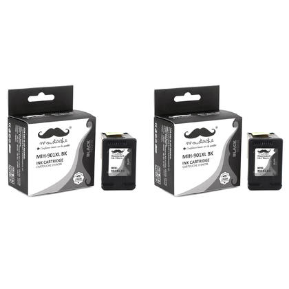 Compatible HP 901XL CC654AN Black Ink Cartridge High Yield - Moustache - 2/Pack