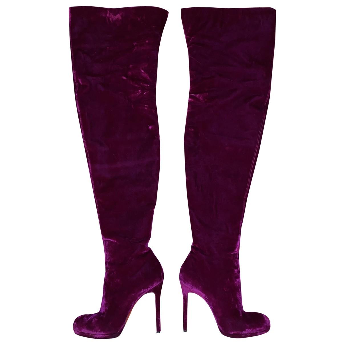 Christian Louboutin - Bottes   pour femme en velours - rose