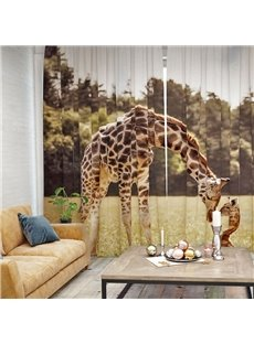 Vivid and Cute Giraffe Pattern 3D Printed Polyester Curtain