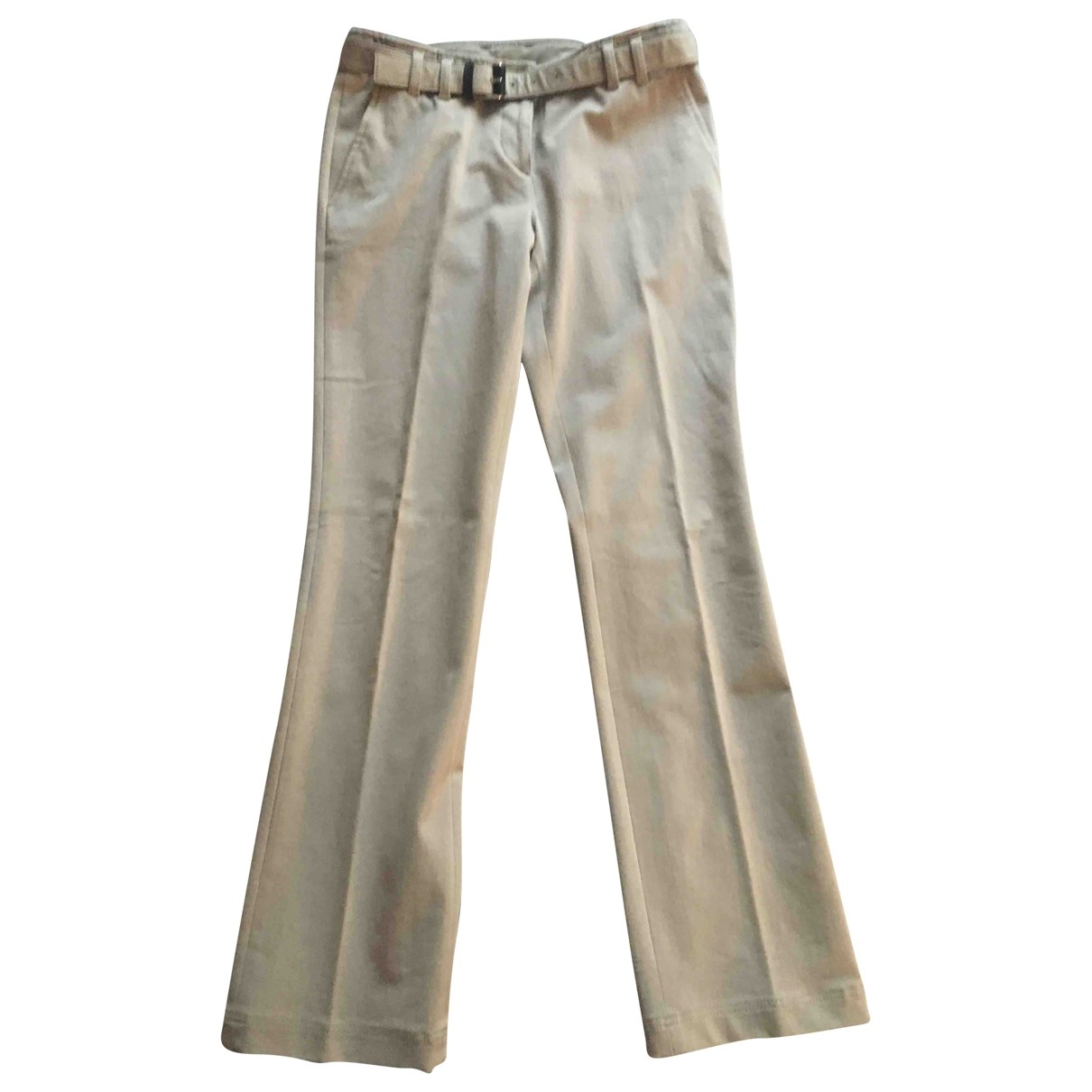 Prada \N Beige Cotton Trousers for Women 40 IT