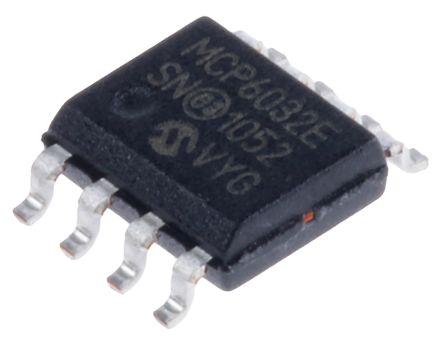 Microchip MCP6032-E/SN , Precision, Op Amp, RRIO, 10kHz 1 kHz, 3 V, 5 V, 8-Pin SOIC (5)