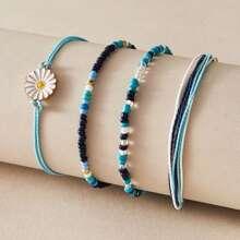 4pcs Daisy Decor Beaded Bracelet