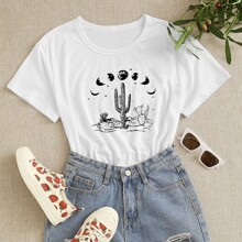 Cactus And Graphic Print Tee