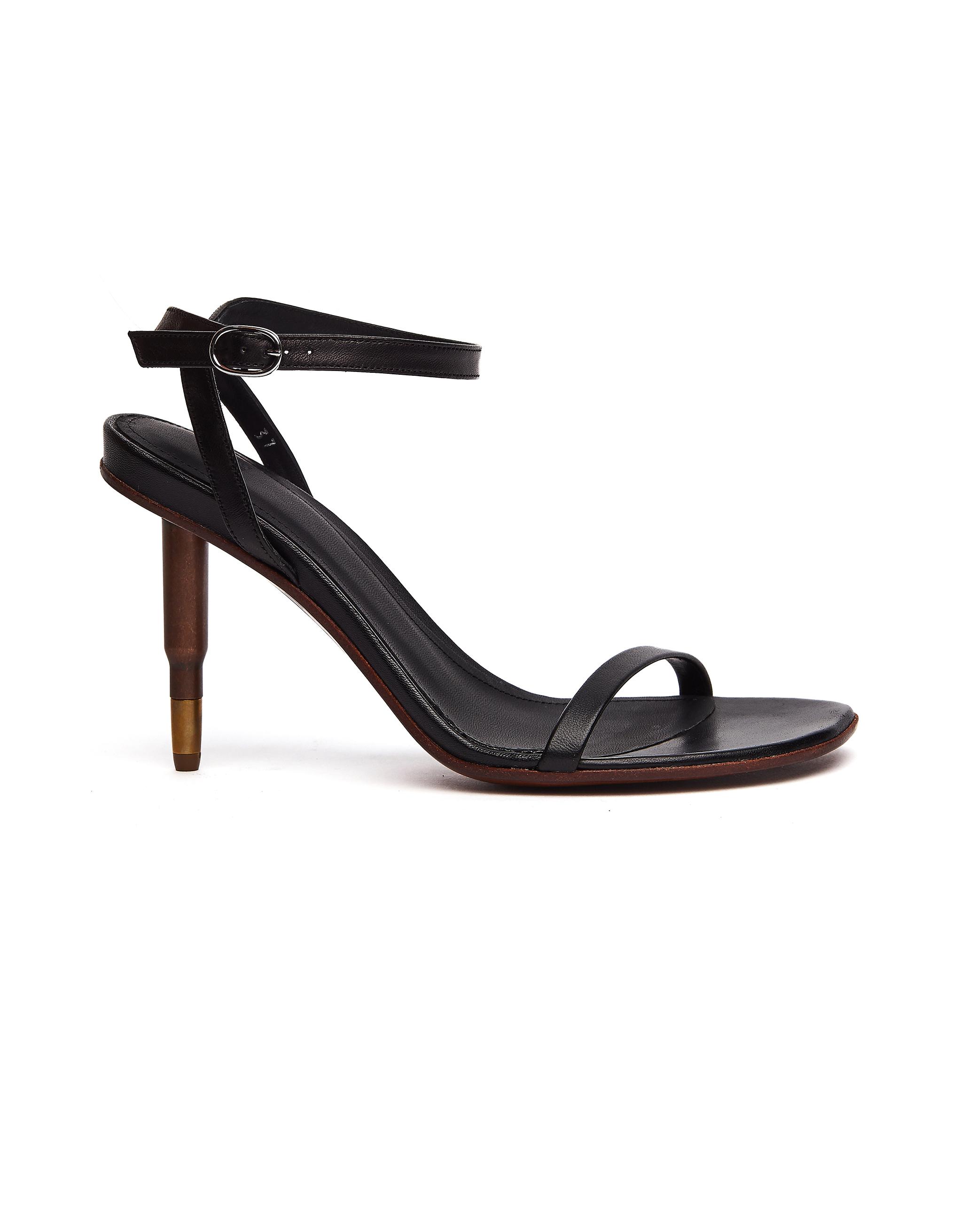 Vetements Killer Black Leather Bullet-heels Sandals