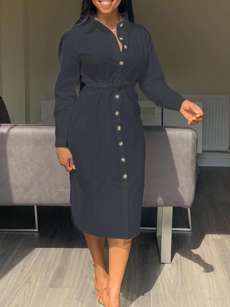 Ericdress Lapel Belt Long Sleeve Date Night/Going Out Regular Dress