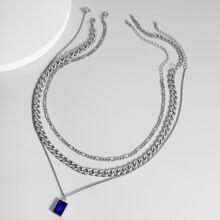 3 Stuecke Maenner Halskette mit Edelstein Anhaenger
