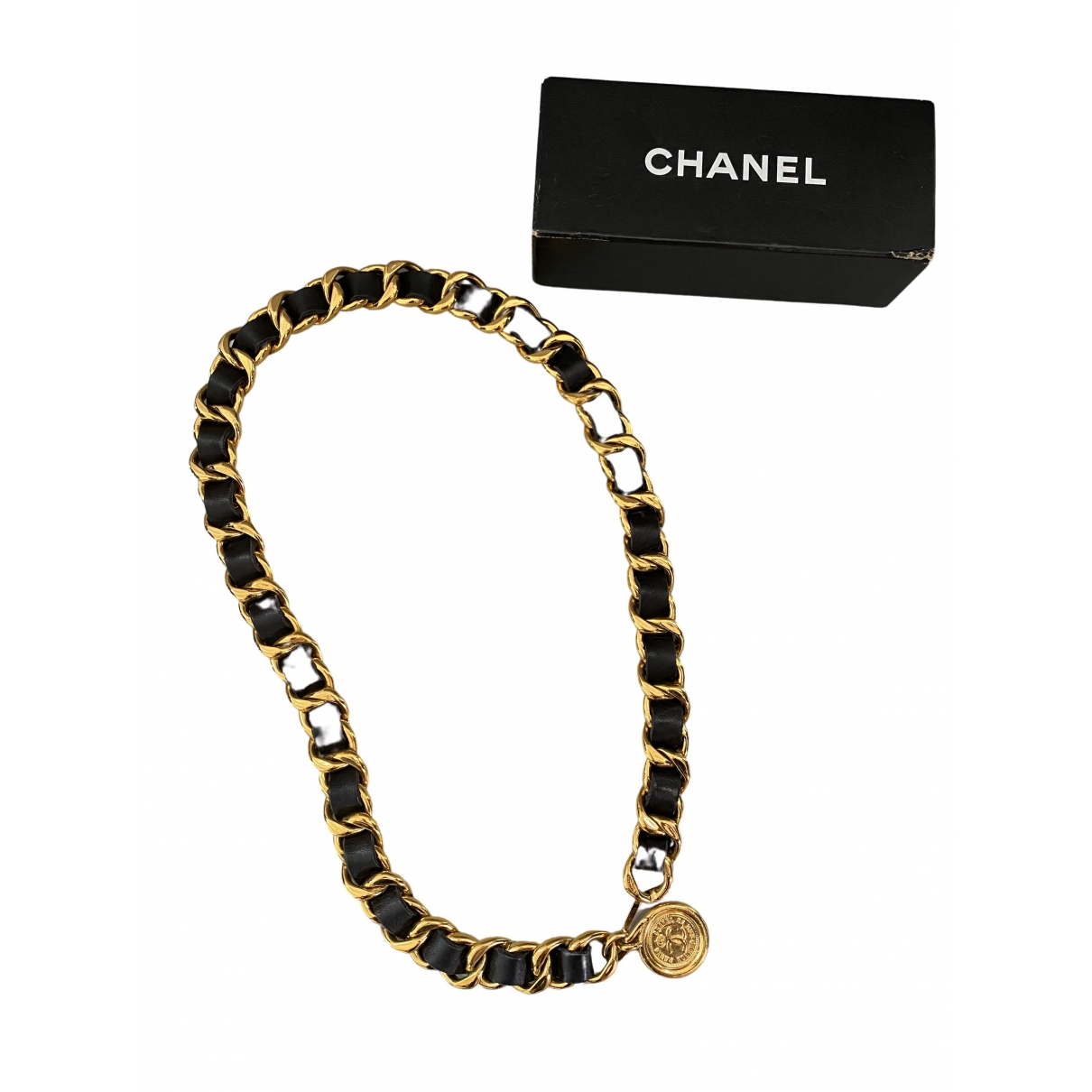 Chanel \N Black Leather belt for Women 37 Inches