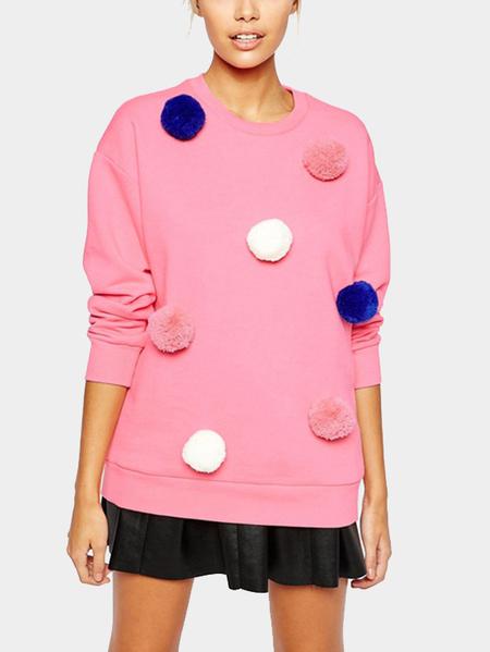 Yoins Pink Long Sleeves Fur Ball Decorations Sweatshirt