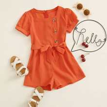 Toddler Girls Button Front Belted Solid Romper