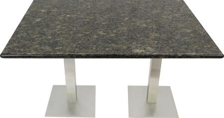 G203 30X72-SS05-17D 30x72 Uba Tuba Granite Tabletop with 17 Square #304 Grade Stainless Steel Dining Height Table