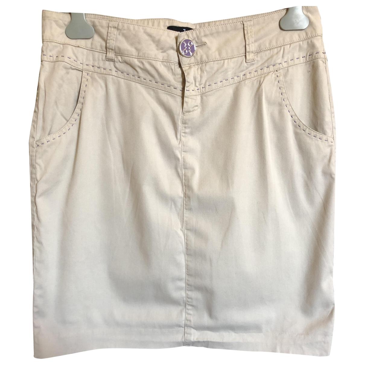 - Jupe   pour femme en coton - elasthane - beige