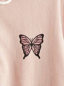 Butterfly Graphic Corduroy Zip Up Jacket