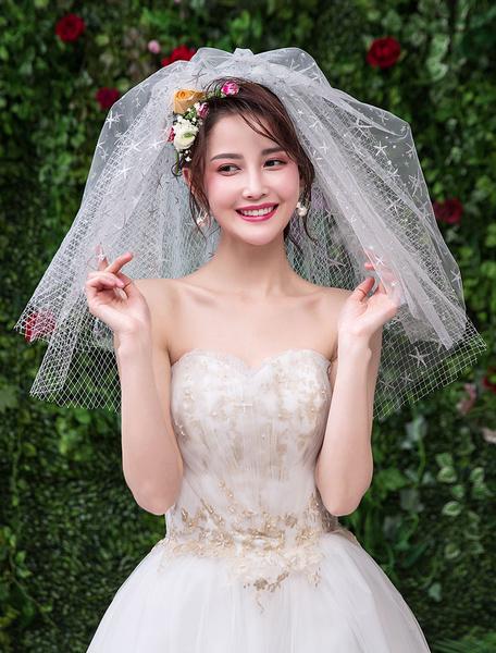 Milanoo Silver Wedding Veil Short Four Tier Net Tulle Cut Edge Classic Bridal Veils