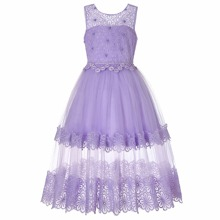 Girls Beaded Floral Lace Bodice Contrast Mesh Party Dress
