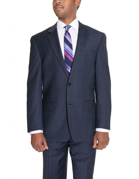 Mens Blue Plaid 2 Button Wool Notch Lapel Fit Suit Flat Front Pants