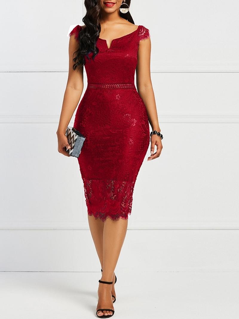 Ericdress Short Sleeve Off the Shoulder Bodycon Dress