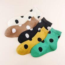 5 Paare Kleinkind Kinder Socken mit Punkten Muster