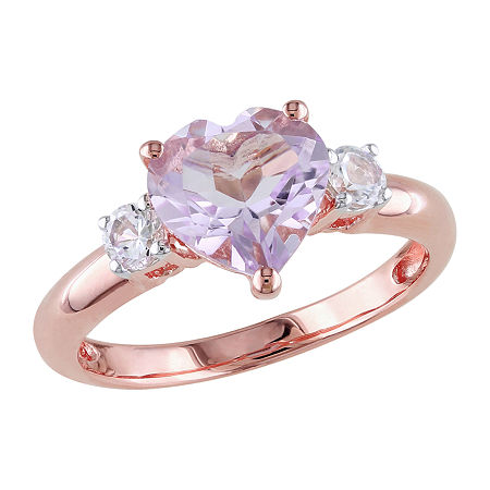 Womens Genuine Multi Color Stone 18K Rose Gold Over Silver Heart Cocktail Ring, 9 , No Color Family