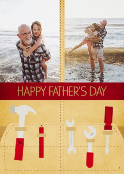 Father's Day 5x7 Folded Cards, Standard Cardstock 85lb, Card & Stationery -Tool Belt At The Ready